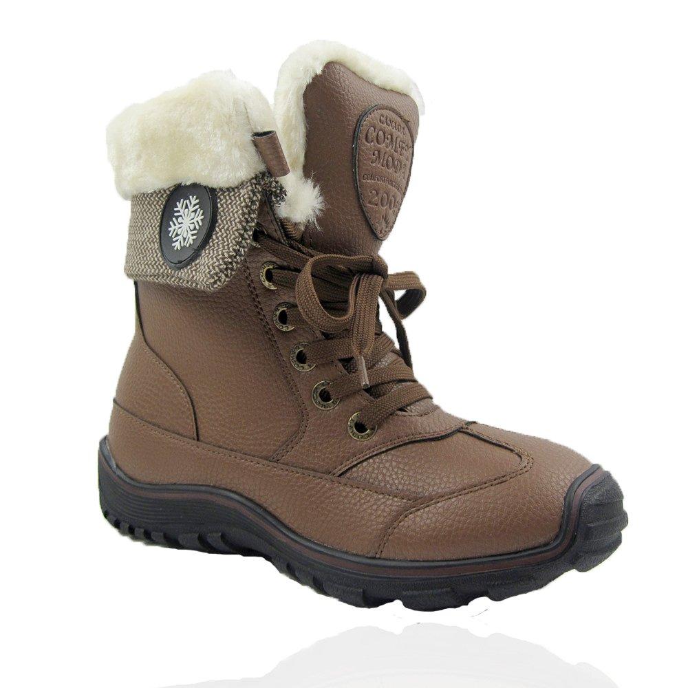 Tan Comfy Moda Women's Winter Boots Full Faux Fur Lining Fashion Winter White Horse