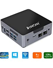 AWOW Mini PC Windows 10 6GB DDR4 128GB SSD Desktop Computer, Intel Celeron N3450 4K HD/Dual LAN/2.4G+5G WiFi/BT 4.2/HDMI