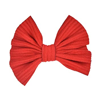 "NEW LARGE HANDMADE 5/"" PLAIN RED COTTON FABRIC BOW HAIR ALLIGATOR CLIP GRIP GIRL"