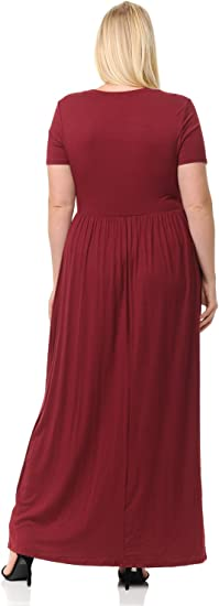 Women's Short Sleeve Maxi Dress with Pockets