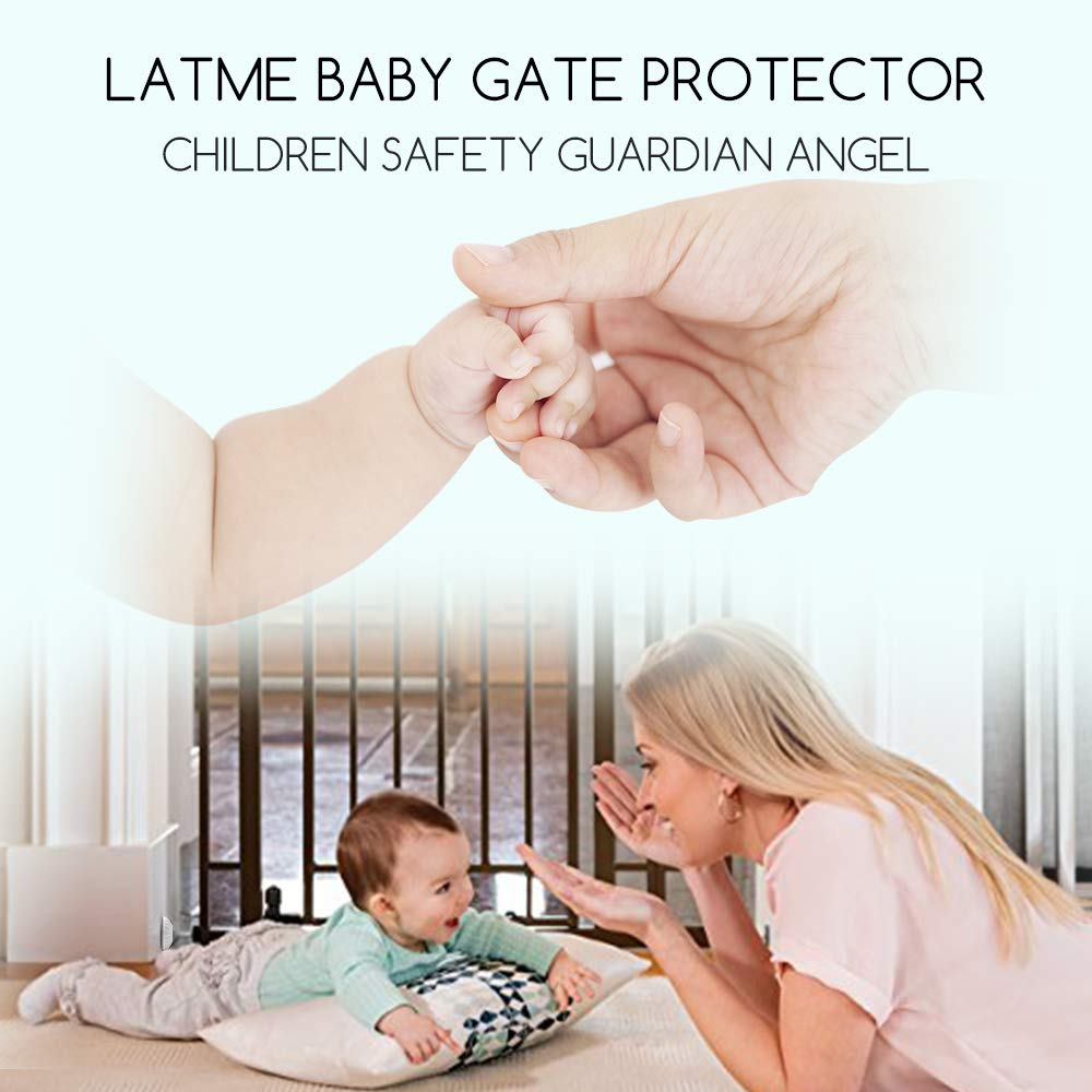 LATME Baby Gate Wall Protector Make Pressure Mounted Safety Indoor Gates More Stable-Wall Damage-Free Fit for Bottom of Gates Doorway Stairs Baseboard Work with Dog Pet Child Gates (White, Round) by LATME (Image #7)
