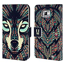 Head Case Designs Wolf Aztec Animal Faces Leather Book Wallet Case Cover For Samsung Galaxy S5 Active