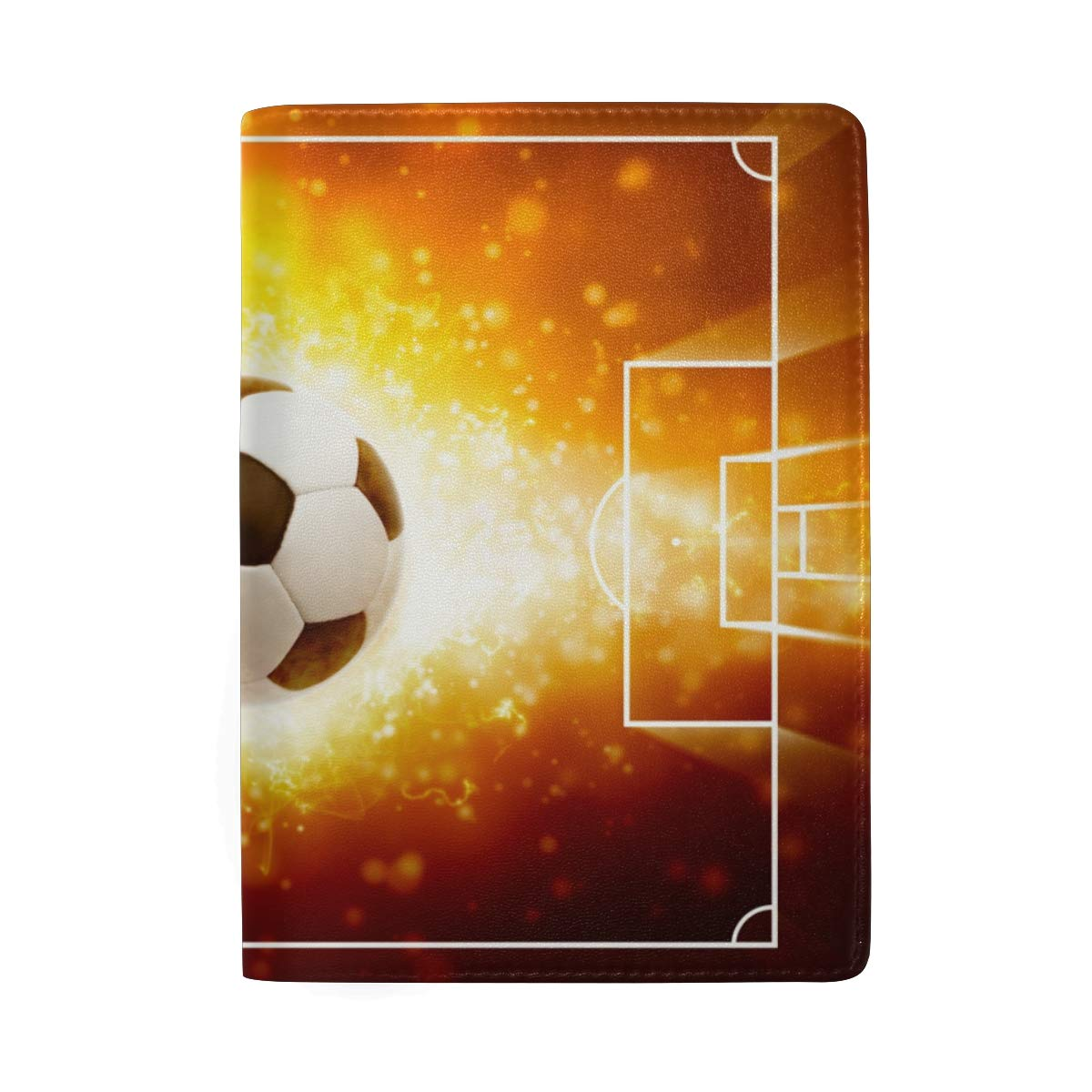 Burning Soccer Ball Leather Passport Holder Cover Case Protector for Men Women Travel with Slots