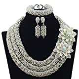 3 Rows Handmade Nigerian African Crystal Beads Jewelry Set Costume Bridal Necklace (Silver)