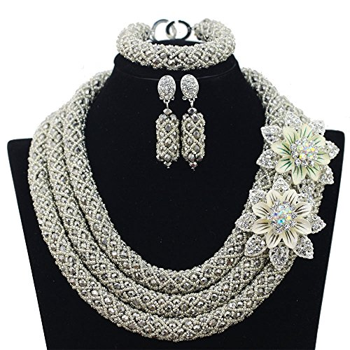 3 Rows Handmade Nigerian African Crystal Beads Jewelry Set Costume Bridal Necklace (Silver) by Hibeads