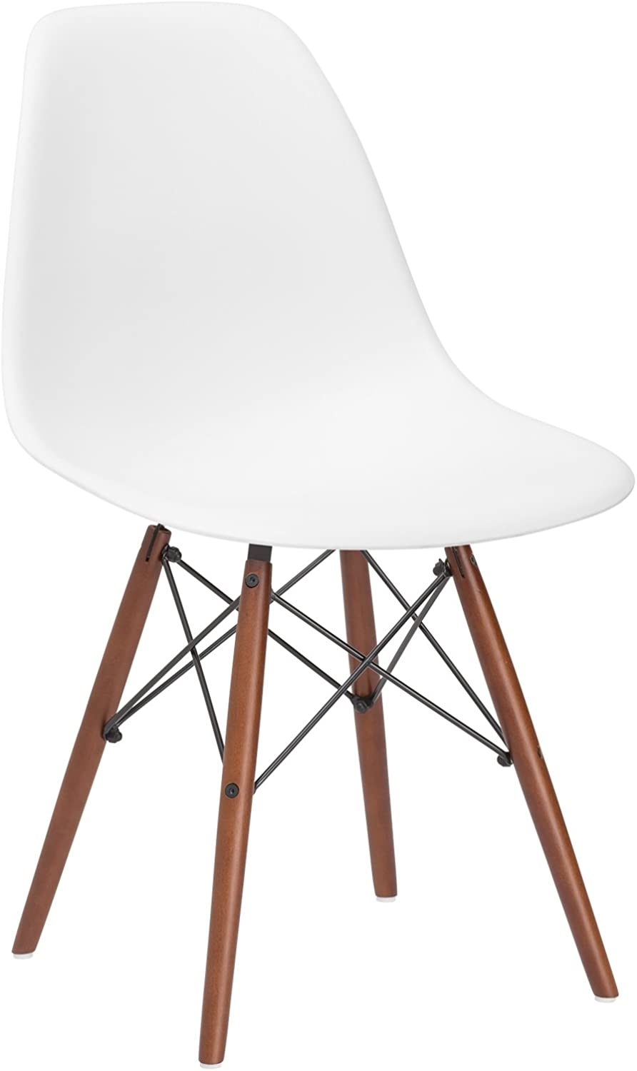 Poly and Bark Vortex Modern Mid-Century Side Chair with Wooden Walnut Legs for Kitchen, Living Room and Dining Room, White
