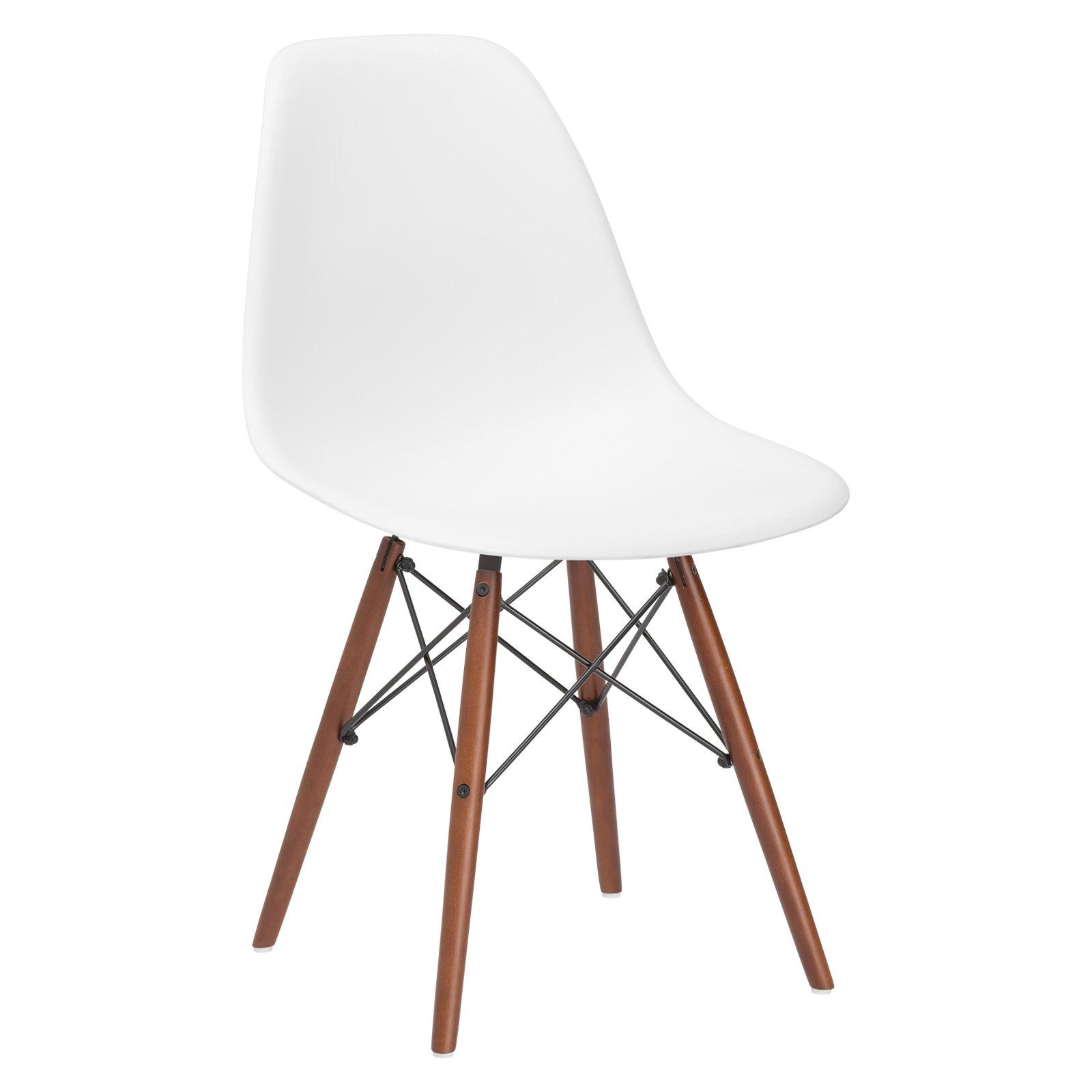 Poly and Bark Vortex Modern Mid-Century Side Chair with Wooden Walnut Legs for Kitchen, Living Room and Dining Room, White by POLY & BARK