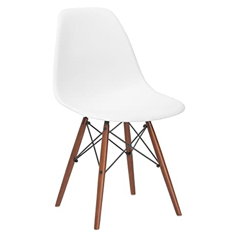 Sensational Poly And Bark Vortex Modern Mid Century Side Chair With Wooden Walnut Legs For Kitchen Living Room And Dining Room White Machost Co Dining Chair Design Ideas Machostcouk