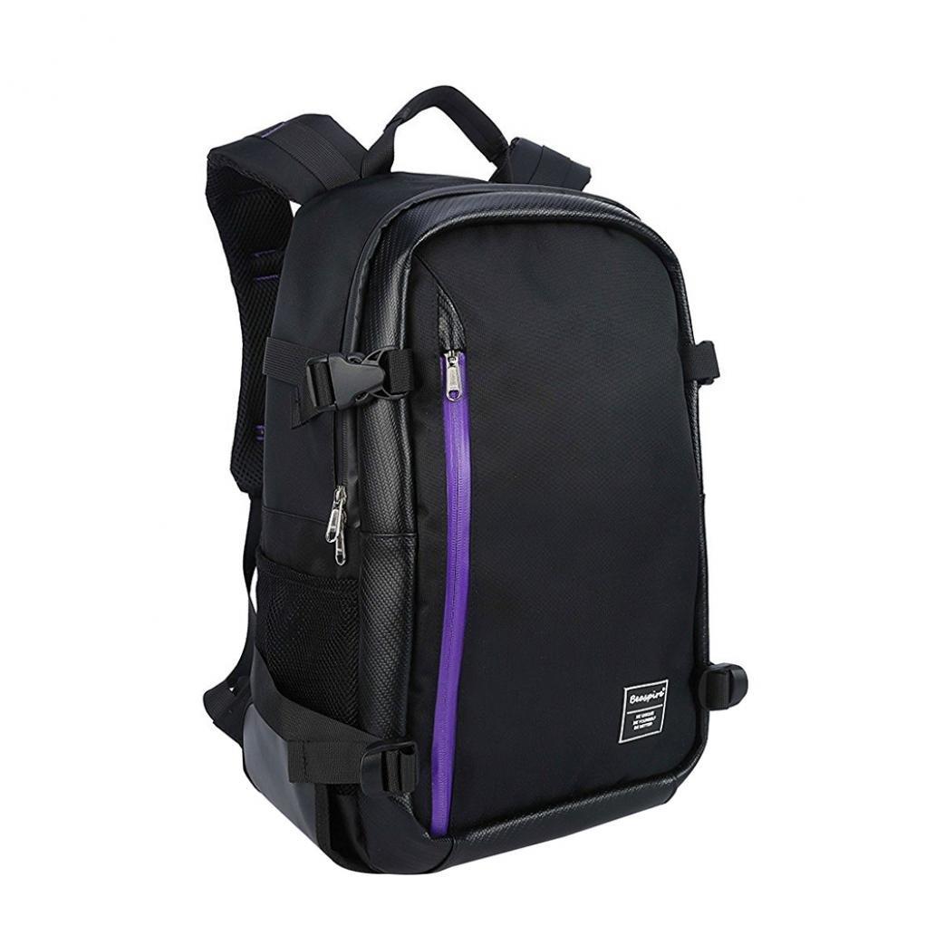braceus多機能大容量カメララップトップ旅行バックパックバッグfor Canon Nikon, J3B4D746Y71431505H  Black + Purple B07BGWS5XN