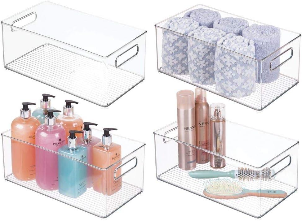 Organizador transparente con dise/ño atractivo Cajas organizadoras para accesorios de ba/ño mDesign Juego de 4 cajas de pl/ástico con asas transparente cosm/éticos y otros utensilios