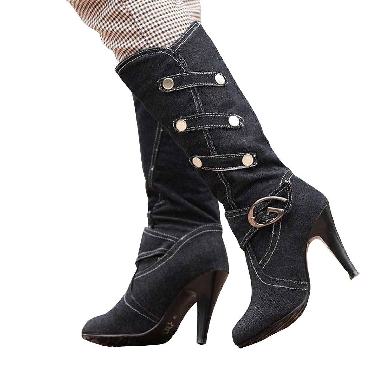 3 Colors Women's Winter Denim Motorcycle Thin High Heel Long Metal Buckle Knee High Martin Jeans Boots