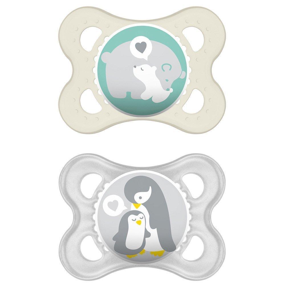 0-6 meses neutral Chupete de silicona Skin Soft de MAM set de 2 incluye caja de transporte para esterilizaci/ón y correa con clip