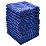 """Alurri Washcloth Towel Set, 12-Pack, Extra Soft Cotton Fingertip Towels, Highly Absorbent, Machine Washable, 13"""" x 13"""" Mini Multi-purpose, Ideal for Gym, Spa, Face Cleansing, House cleaning. (Navy)"""