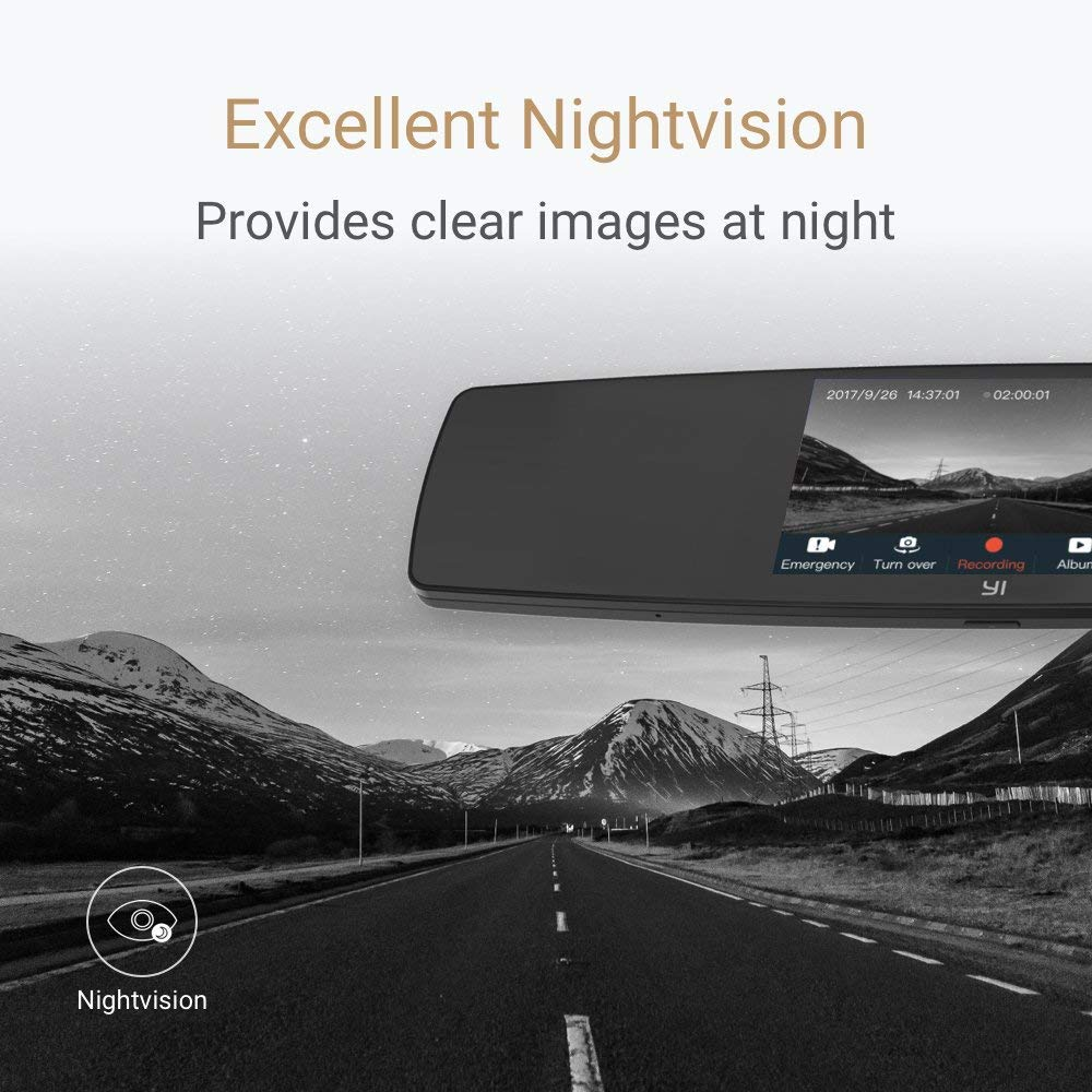 YI Mirror Dash Cam Dual Dashboard Camera Recorder with Touch Screen Front Rear View HD Camera G Sensor Reverse Monitor Loop Recording