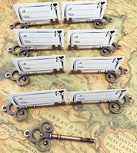 40pcs Antique Skeleton Key Shaped Wedding Favor Rustic Decoration Photo Holder Key to Your Heart by DLWedding