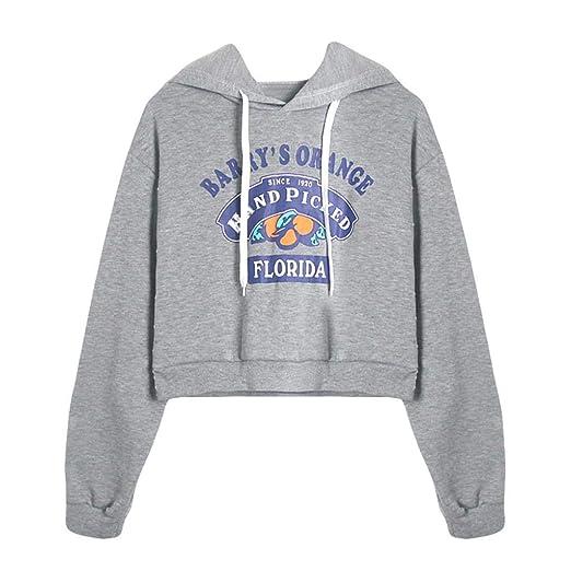 5dda2956d451aa BCDshop Womens Letter Print Long Sleeve Hoodie Sweatshirt Causal Crop Tops  Shirt(Gray,S