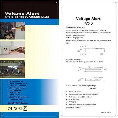 Everpert lumi/ère LED testeur de tension Pen 90/V-1000/V AC testeur de tension Alerte pour prise murale prise de courant d/étecteur de d/étecteur de test