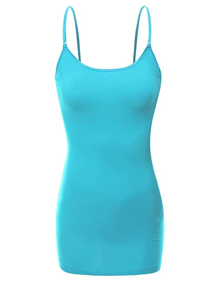 3df1a41e40f9a Bozzolo RT1008 Ladies Adjustable Spaghetti Strap Built In Bra Shelf Cami Tank  Top Aqua S