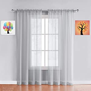 Warm Home Designs Pair of Standard Length Light Silver Sheer Window Curtains. Each Voile Drape is 56 X 84 Inches in Size. Great for Kitchen, Living, Kids Room. 2 Fabric Panels. AM Silver 84""