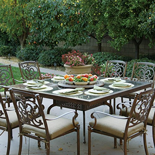 Darlee Santa Barbara 9 Piece Cast Aluminum Patio Dining Set With Granite Top Table And Lazy Susan - Antique Bronze/Brown Granite Tile