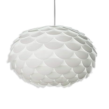 Lámpara de puzzle colgante DIY máx. 60 W Ø 460 mm, Color blanco, lampara de techo con diseño de flor, E27, 230V, IP20