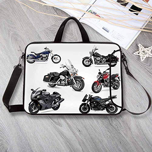 "- Motorcycle Custom Neoprene Laptop Bag,Unique Original Motorcycles Set Freestyle Action Life with Winged Wheels Hobby Print Laptop Bag for Men Women Students,12.6""L x 9.4""W x 0.8""H"