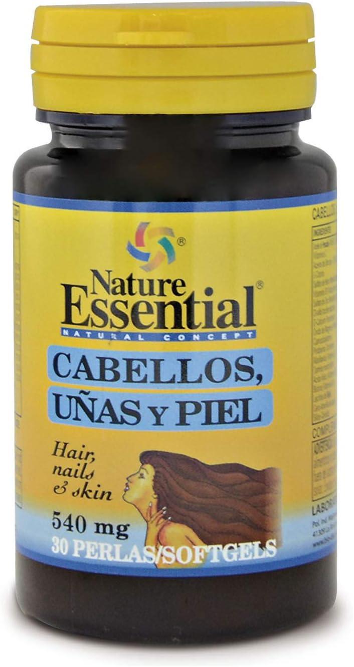 Cabellos uñas & piel 540 mg. 30 perlas con omega-3, L-cistina, hierro, zinc y vitaminas. Para fortalecer y frenar la caída del cabello y reforzar uñas y piel.
