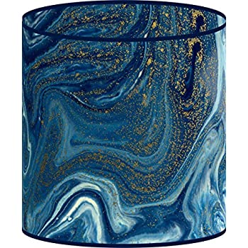 LampPix 10 Inch Table Lamp Shade - Marble Blue Canvas Desk Lampshade (Spider Fitting)
