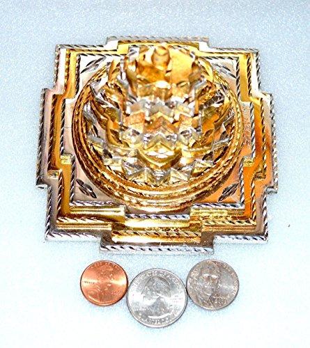 Meru yantra 3D Sri Shri meru yantra Brass Ashtadhatu Shree Shri Laxmi yantra Sri Yantra Energized - Spiritual powers peace health wealth financial prosperity BIG Approx. 4x4'' Inches 850 gms -US seller by Awaken Your Kundalini - For Genuine Gemstone Hand Knotted Japa Mala Beads Necklace & Bracelets (Image #3)