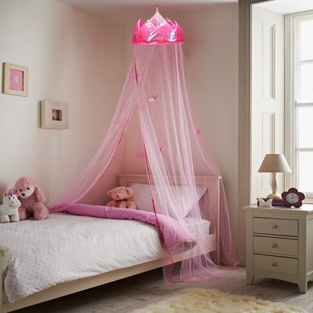 MultiWare Crown Mosquito Net Princess Bed Canopy Girls Bedroom Warm Curtain Dome Canopy Purple oem