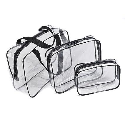 Neceser de Maquillaje Cosmético Bolsa,Bolso de viaje de viaje de viaje transparente Bolso de viaje de regalo de 3 en 1 bolsas de plástico Bolso de ...