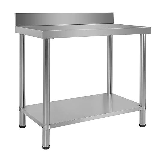 Mesa de trabajo Acero Inox con alzatina superficie reforzada altura ajustable 100x60x85 cm
