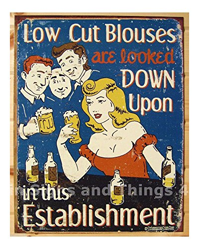 Low Cut Blouses looked down upon FUNNY TIN SIGN beer bar metal wall decor 1500 from Unknown