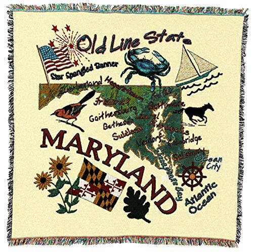 Pure Country Weavers | Maryland State Woven Throw Blanket Cotton USA 54x54