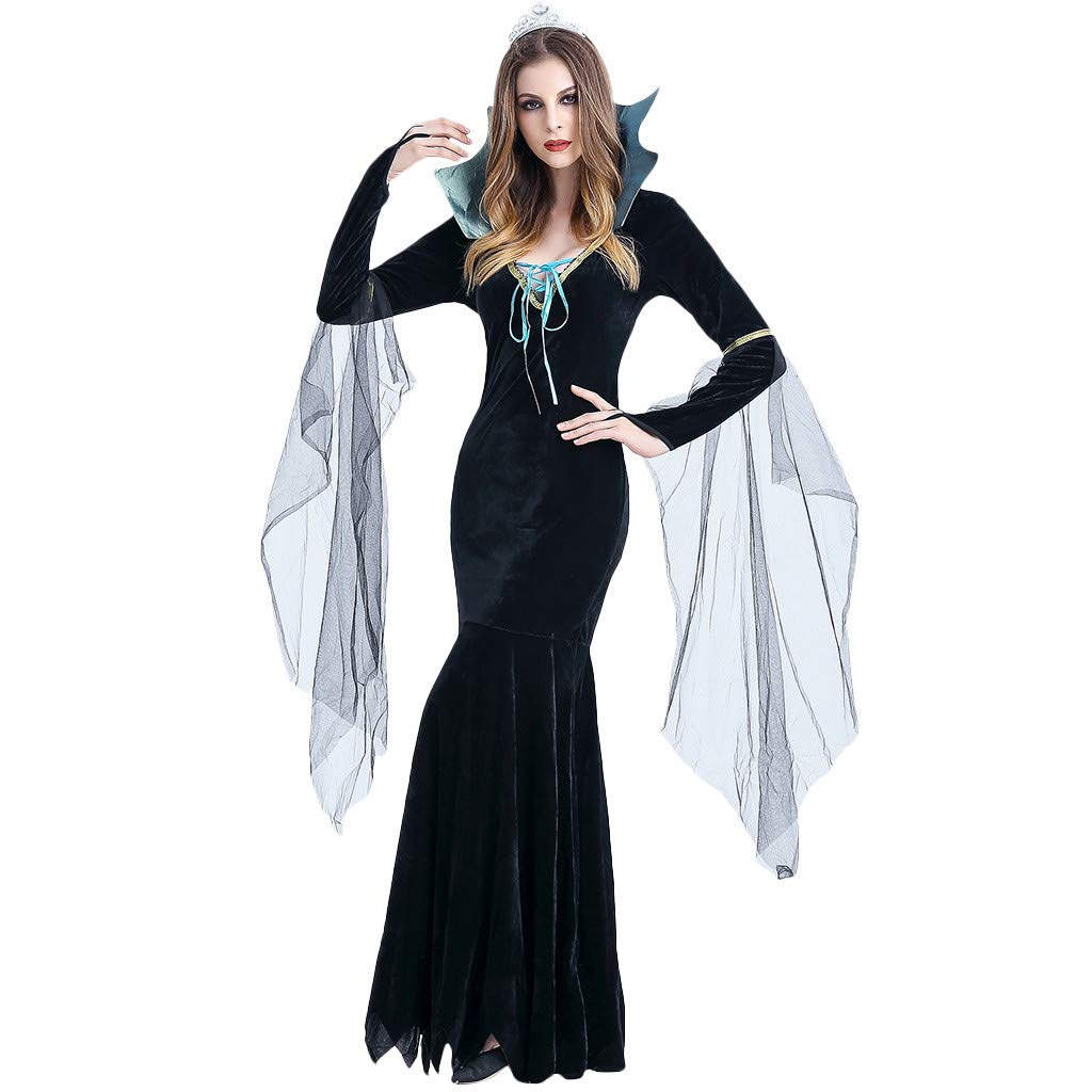 Onegirl Women Halloween Cosplay Costume Cleopatra Vintage Style Pharaoh Star Witch Stand Collar Maxi Dress Black by Onegirl-dress