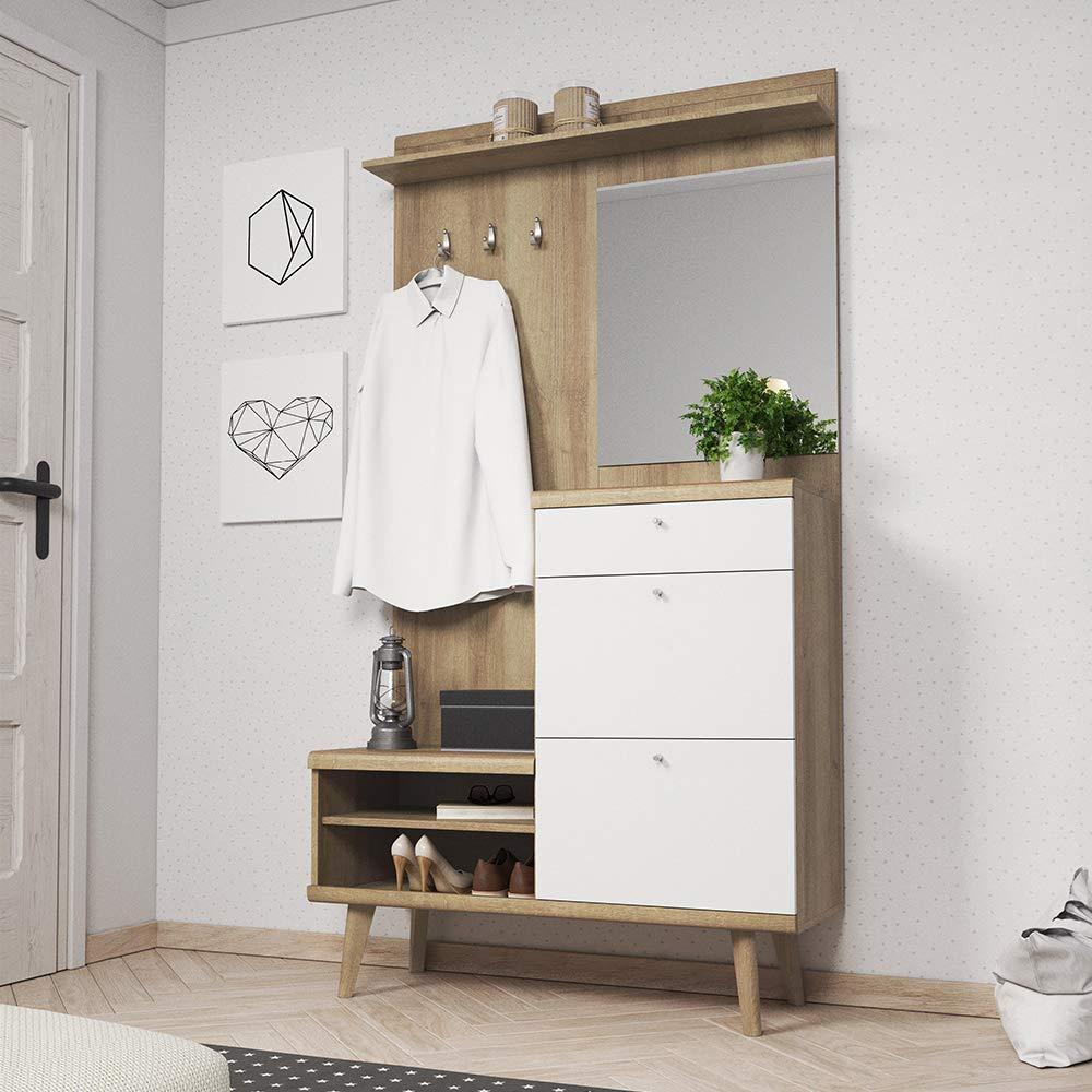 Selsey PRISTEG Blanc Mat//ch/êne Riviera, 200 cm Meuble dentr/ée//Vestiaire dentr/ée