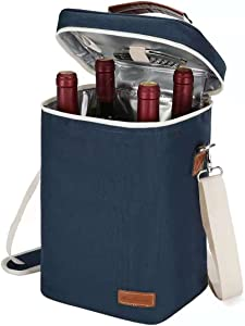 4 Bottle Insulated Wine Tote Wine Carrier Bag, Travel Padded Wine Cooler with Corkscrew Opener and Adjustable Shoulder Strap, Perfect Wine Lover's or Wedding Gift