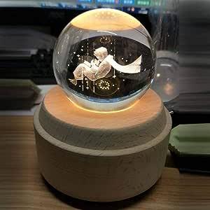 WEI MM 9 Diferentes Grabados 3D Bola de Cristal Caja de música Caja de música Luminosa de Madera Mano giratoria mecánica cumpleaños Principito: Amazon.es: Hogar