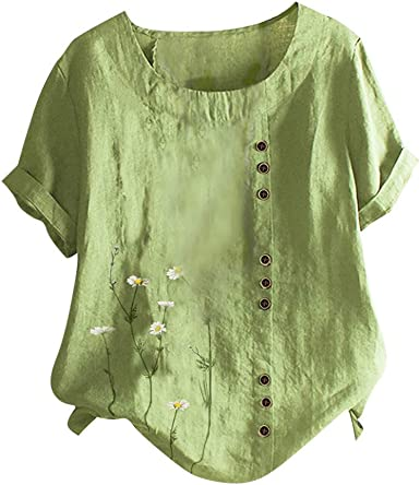 Linen Tunics for Women to Wear with Leggings Short Sleeve Shirts Plus Size Casual Summer Round Neck T-Shirt Blouses