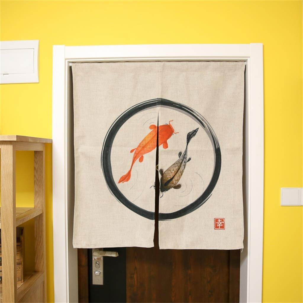 DELLT- Giapponese Kim carpa cotone tenda in lino Camera Camera Cucina Bagno Tende cut - off cortina di stoffa Zen tende appese ( colore : # 1 ) ailisi