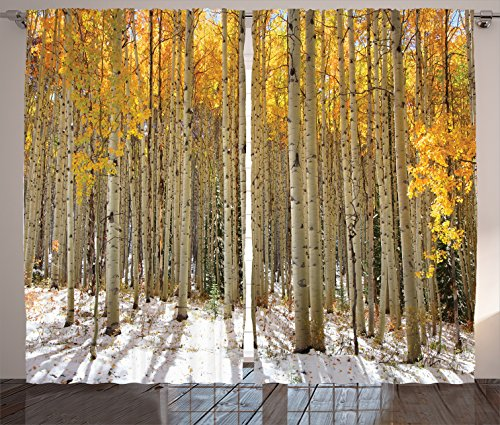 Ambesonne Farm House Decor Collection, Aspen Trees with Golden Leaves in Snow, Forest in Early Winter Time Landscape, Living Room Bedroom Curtain 2 Panels Set, 108 X 84 Inches, Gold White Beige (Aspen Bedroom Set)