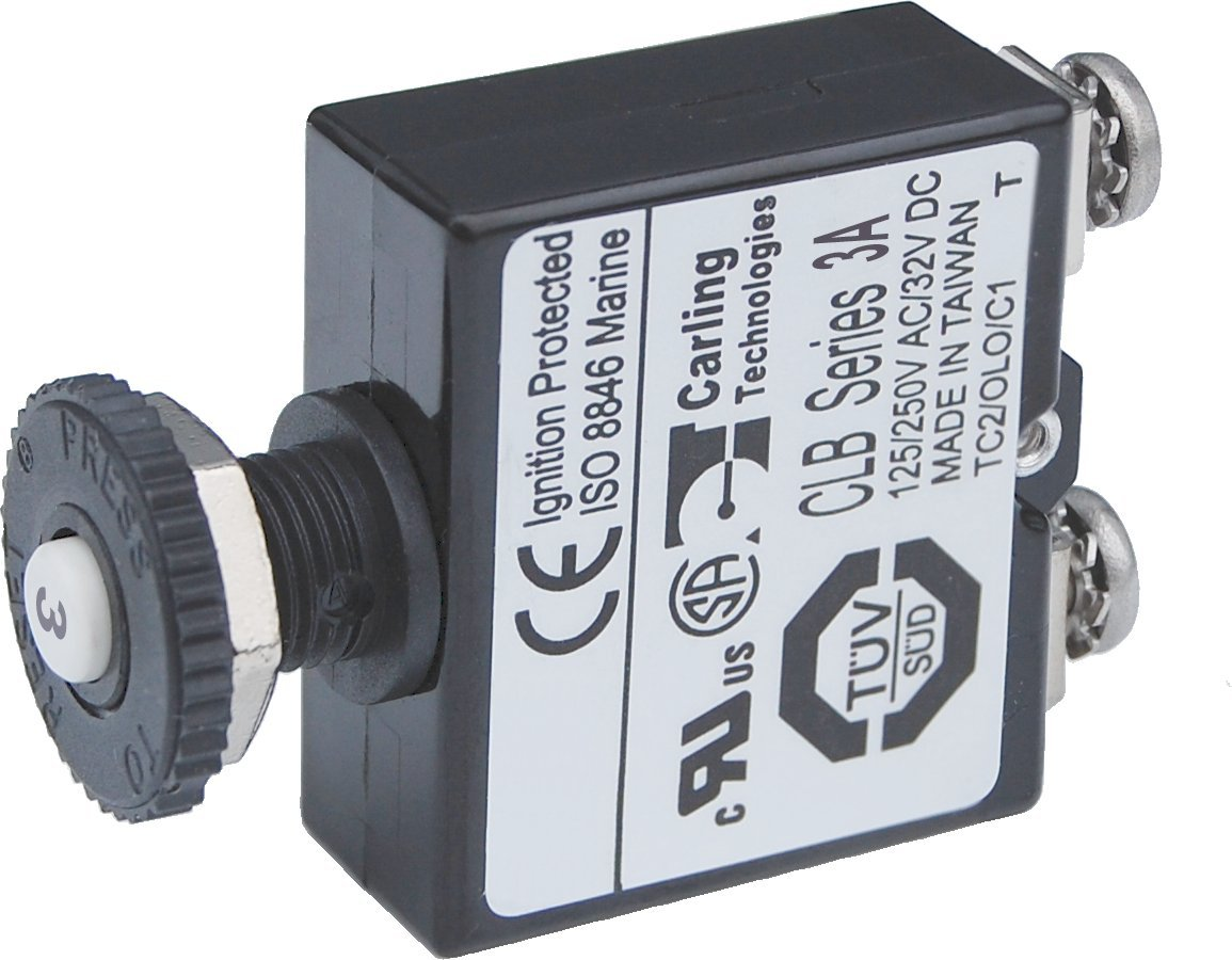 Blue Sea Systems Push Button Reset Only Screw Terminal 3A Circuit Breaker