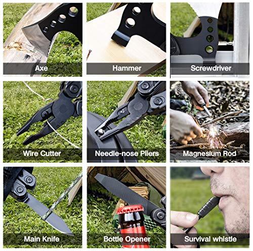 61KD1h2jGiL WayinTop Werkzeug Geschenke für Männer, Taschenwerkzeug Multi-Tool Hammer Axt mit Zange Klappmesser Schraubendrehe…