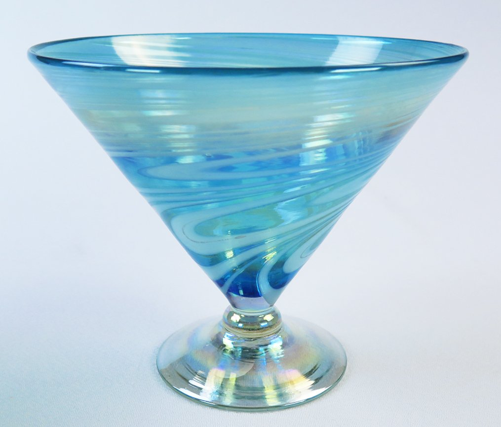 Mexican Glass Turquoise White Swirl Margarita or Martini (short) Set of 4 by Mexican Margarita Glasses (Image #2)