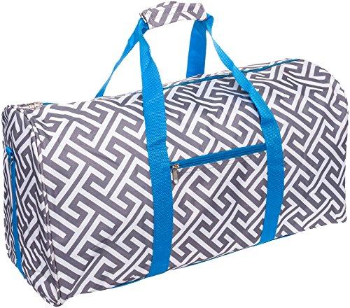 SilverHooks 22 inch Greek Key Duffle Travel Bag w/Turquoise Trim (Grey/White) ()