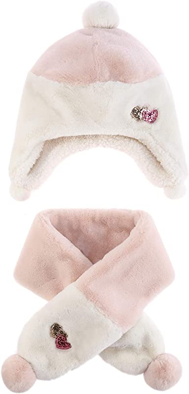 M Baby Toddler Plush Scarf Hat Girls Ear Flaps Beanie Kids Furry Neck Warmer