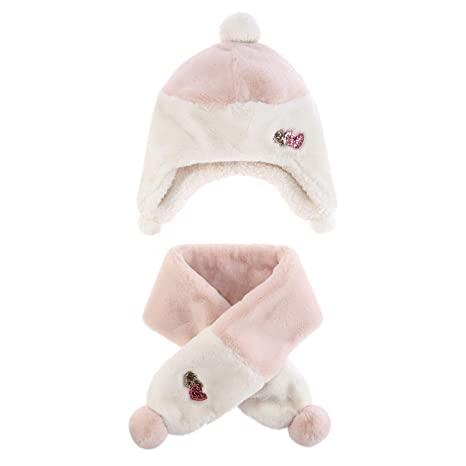 7e4a1c8c143 Baby Toddler Plush Scarf Hat Girls Ear Flaps Beanie Kids Furry Neck Warmer  (M)  Amazon.ca  Luggage   Bags