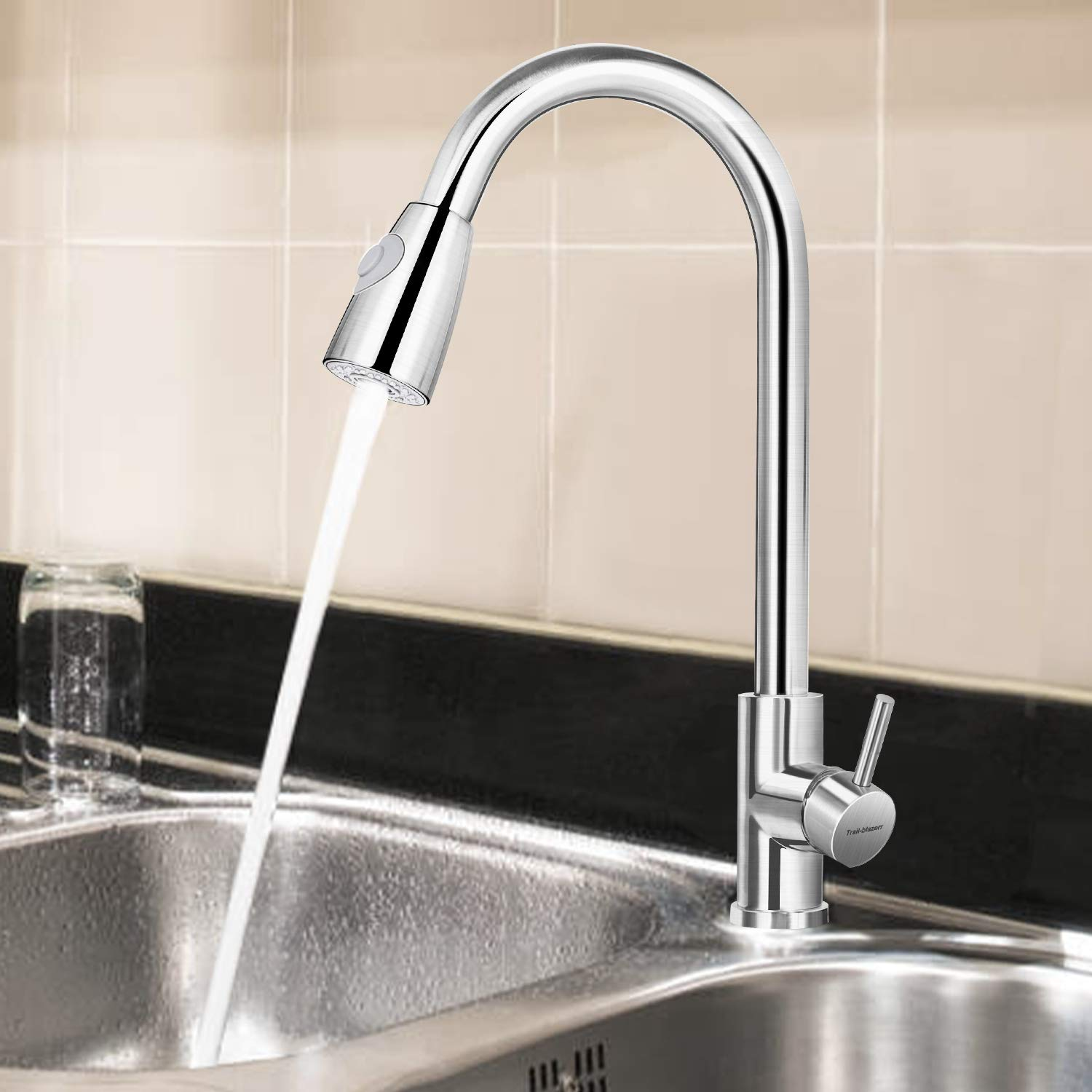 Kitchen Faucet, Kitchen Sink Faucet, Brushed Nickel Kitchen Faucets,  TRAIL-BLAZERR Single Handle High Arc Brushed Nickel Pull out Kitchen ...