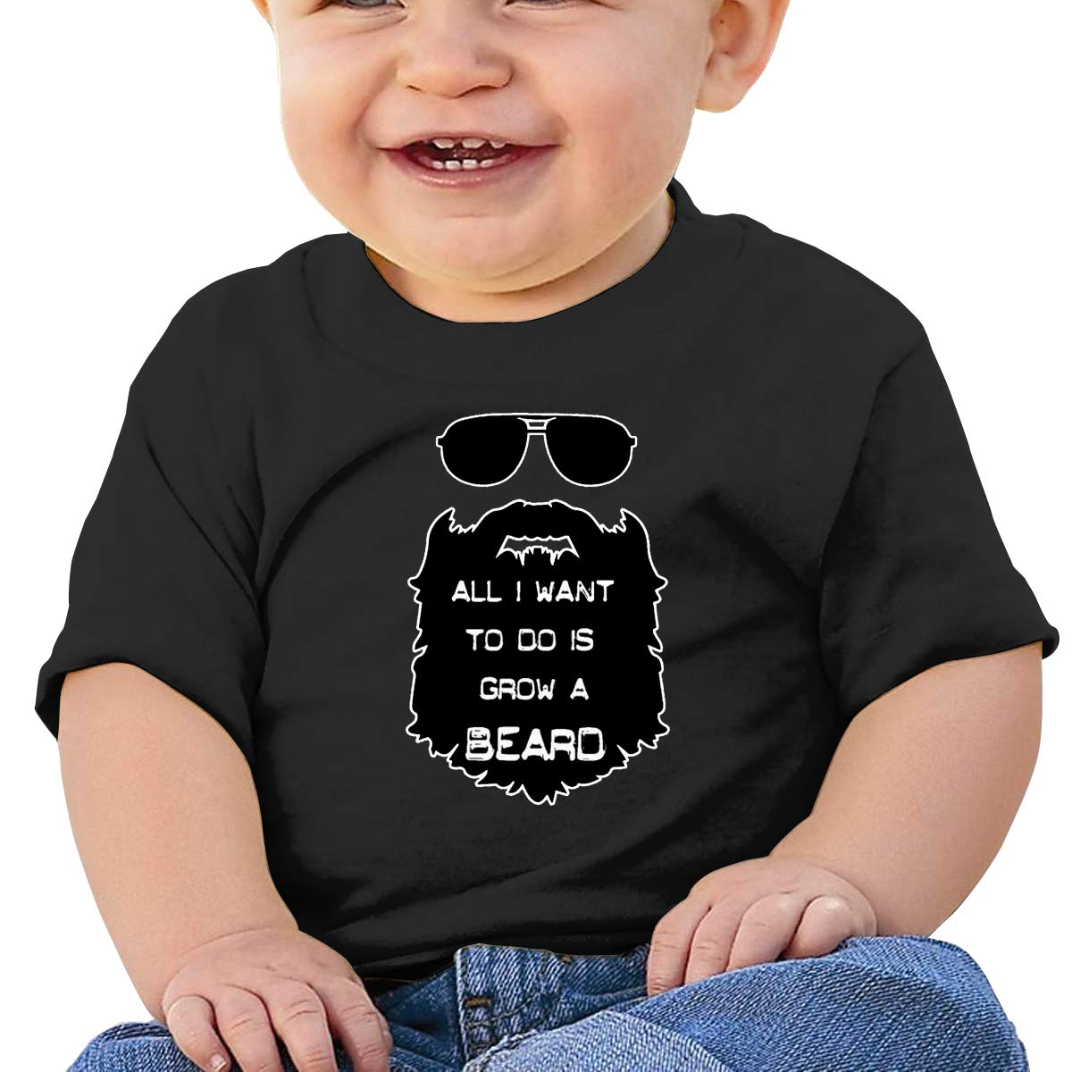 All I Want to Do is Grow A Beard Baby T-Shirt Little Baby Cotton T Shirts Cartoon Tee Shirts for 6M-2T Baby