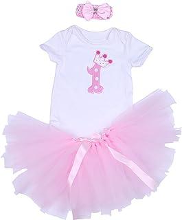 BabyPreg 3PCs Bambina prima compleanno Onesie Tutu vestito Fascia